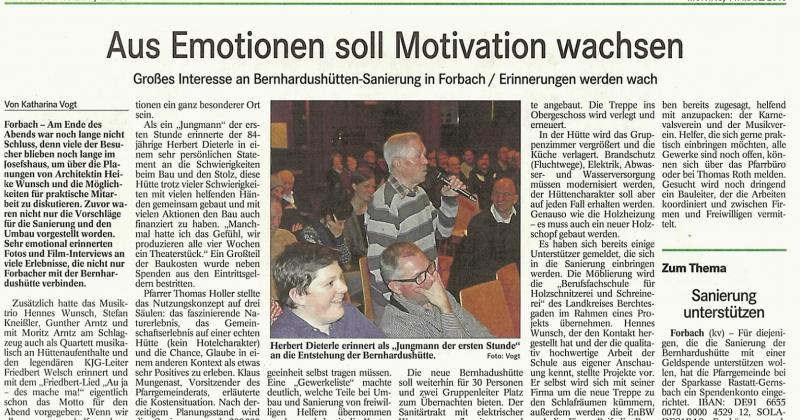 Zeitungsbericht Badisches Tagblatt 14. März 2016